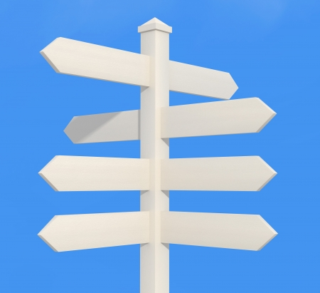 signpost: blank wooden directional sign post - rendering Stock Photo
