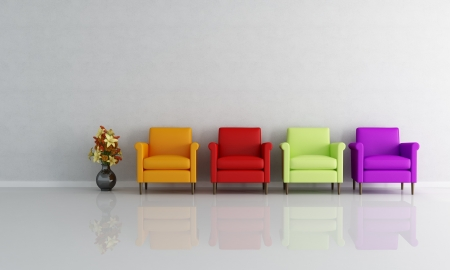 four colored armchair in a empty living room - rendering photo