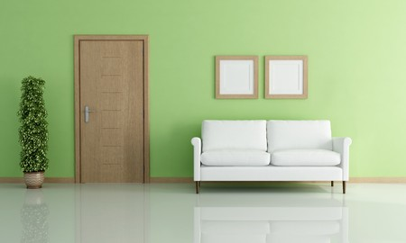 white elegant sofa in a green interior - rendering photo