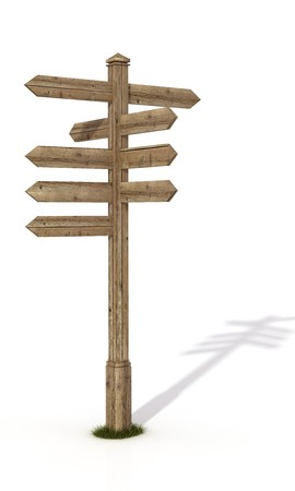 directions: old wooden road sign post isolated on white - rendering