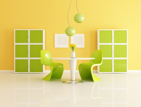 bright contemporary orange and green  living room - rendering Stock Photo