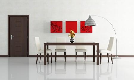 contemporary dining room with wooden door - rendering Stock Photo