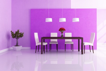 dining table and chairs: elegant modern dininig room with red rose vase on the table - rendering
