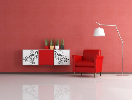 red armchair and decorated cabinet in front a stucco wall - rendering Stock Photo - 7728942