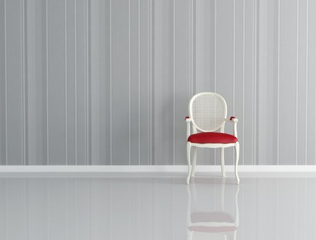 one classic chair in a empty room - rendering Stock Photo - 7728938