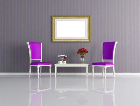 classic interior with two purple chair  and vintage telephone - rendering photo