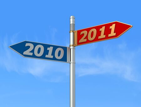 old year and new year directional signpost - rendering photo