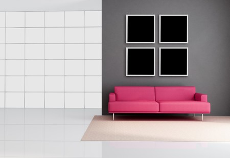 empty living room with leather pink couch - rendering photo