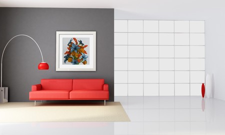 minimalist interior with red couch and big windows - rendering - the art picture on wall is a my rendering composition Stock Photo - 7728948
