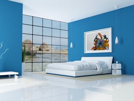 bedrooms: blue bedroom of a beach villa - rendering - the art picture on wall is a my rendering composition,background is a my photo