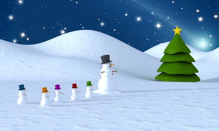 Snowman family to a Christmas tree - rendering Stock Photo - 7728951