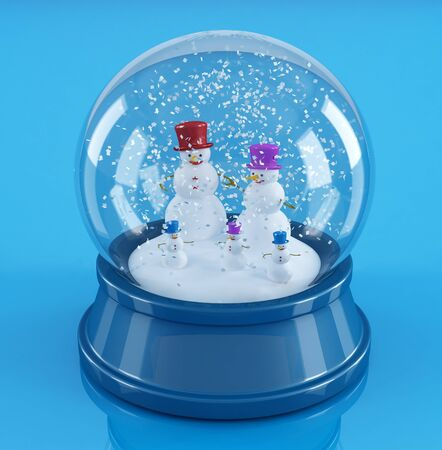 snowman family in a  blue snowglobe - rendering Stock Photo - 7728945