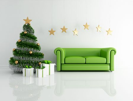 green christmas interior  with modern tree and classic sofa - rendering photo