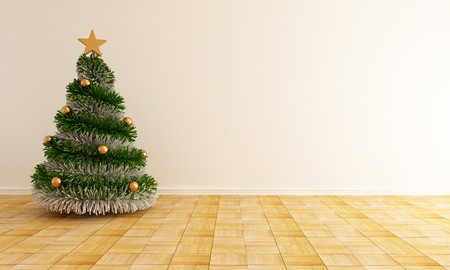 christmas tree with a star in a empty living room - rendering Stock Photo - 7842682