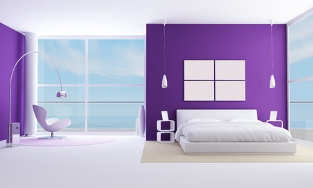double rooms: purple bedroom of a modern sea houese-rendering-bedroom of a modern beach villa - rendering - the image on background is a my photo