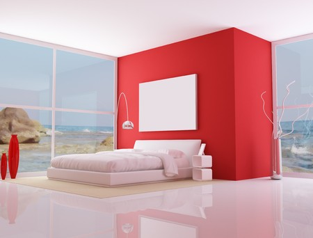 bedroom of a modern beach villa - rendering - the image on background is a my photo photo