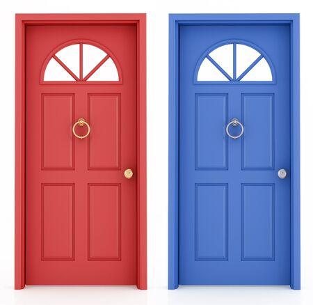 red door: red and blue elegant  entrance door isolated on white  - rendering