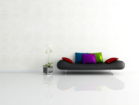 white interior with fashion couch with silk pillow - rendering photo