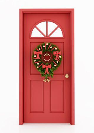 puerta verde: puerta roja con corona de Navidad aislado en blanco - representaci�n  Foto de archivo