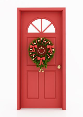 pine wreath: red door with christmas wreath isolated on white - rendering