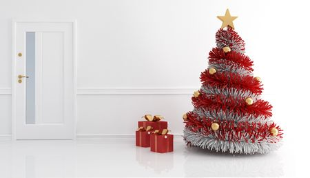White home entance with christmas tree and present - rendering photo