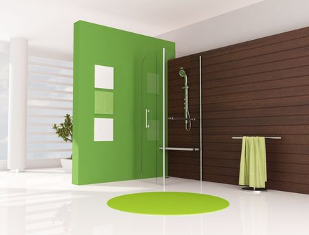 bathroom wall: green bathroom with cabin shower and wooden panel - rendering Stock Photo