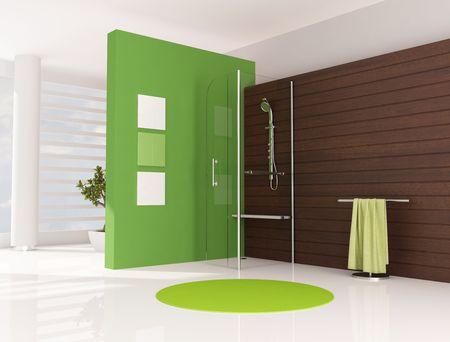 cabine de douche: vert salle de bains avec douche cabine et le panneau en bois - rendu Banque d'images