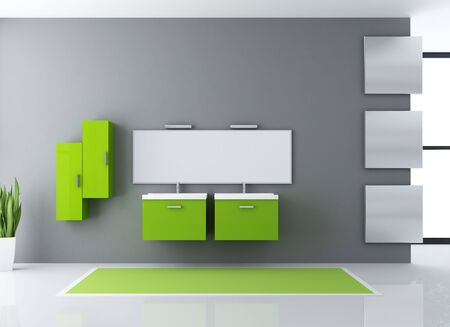 minimalist green and gray modern bathroom - rendering photo