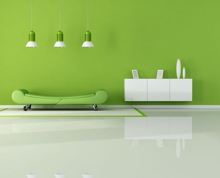 green living room with fashion couch on wheels - rendering Stock Photo - 7842692
