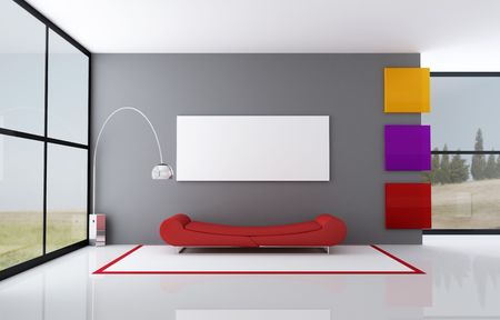 red fashion couch in a minimalist interior - rendering- the image on background is a my photo photo