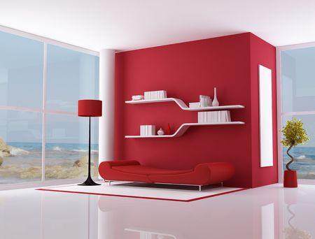 Salon rouge d'une villa de plage - rendu - l'image sur fond est une ma photo