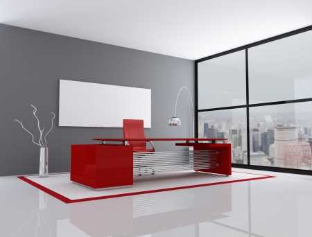 modern office interior: red and gray city office - rendering - the image on background is a my photo