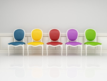 colored classic chair in white and gray interior photo