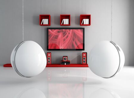Home cinema  with two white ball-chair supported by chain - rendering - the picture on screen tv is a my composition Stock Photo - 7842702