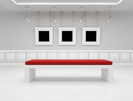 art gallery: Modern art gallery with blank frame and bench - rendering