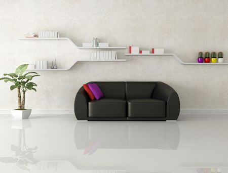 black leather sofa in a white modern living room - rendering photo