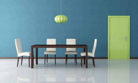 puerta verde: Mesa de madera moderna y la silla en un comedor azul con puerta verde - representaci�n  Foto de archivo