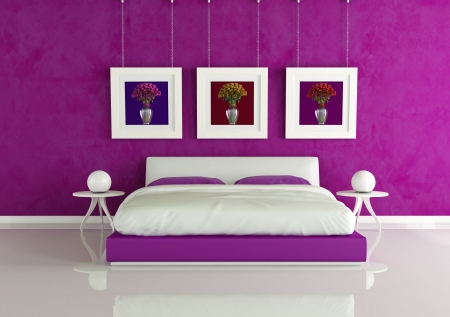 lovers in bed: purple modern bedroom with frame with colored roses - rendering - the art picture on wall are my rendering composition Stock Photo
