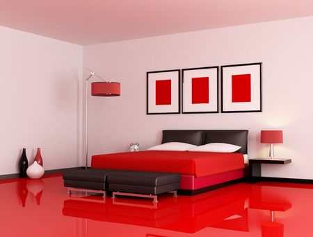 contemporary bedroom: modern  bedroom with red floor and white wall - rendering Stock Photo
