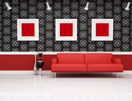 livingroom minimal: red leather couch against black and white classic wallpaper Stock Photo
