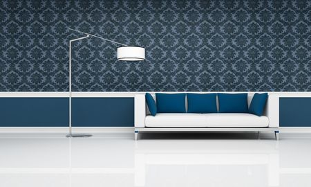 white couch with blue pillow against blue damask  wallpaper - rendering photo