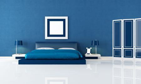 modern lamp: contemporary blue bedroom with modern double bed and blue screen - rendering