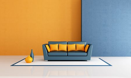 divano: divano moderno con cuscino in una vita di blu e arancia minimalista stanza - rendering Archivio Fotografico