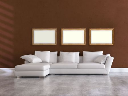white elegant couch in a minimalist brown living room - rendering photo
