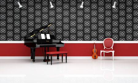 chiave di violino: pianoforte violino e rosso sedia in una sala di musica classica