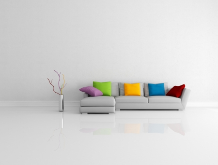 living room minimalist: gray modern couch with colored pillow in a bright empty living room - rendering