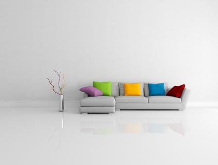 sala de estar: Sala de gris sof� moderno con una almohada color en una brillante vida vac�a - sistema