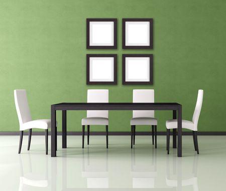green modern empty dining room - rendering photo