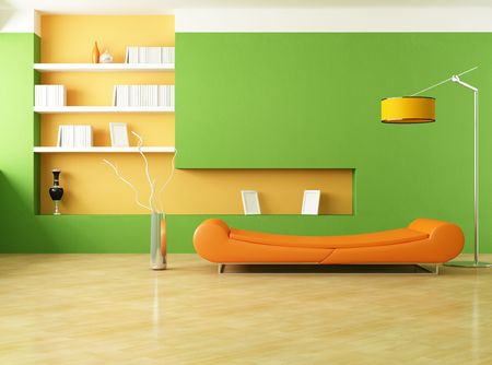 modern couch in a green living room - rendering photo