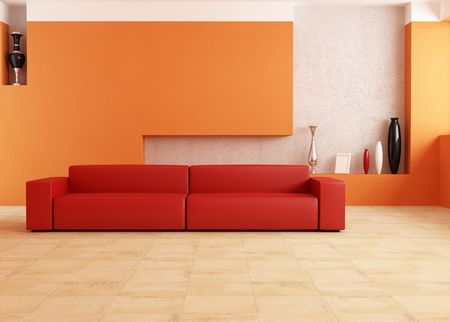 domestic interior: modern red sofa in a orange living room